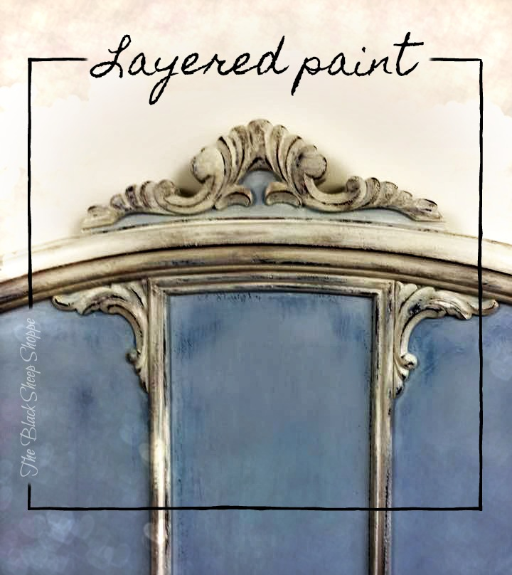 Thin layers of paint creates an antique finish.