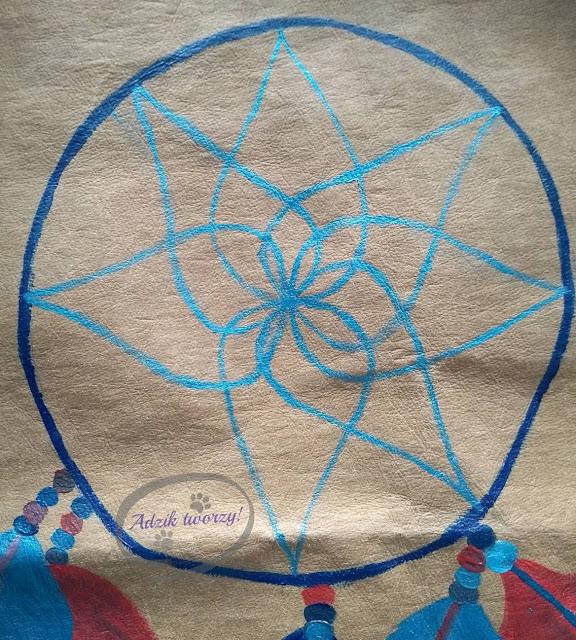 DIY ręcznie malowany łapacz snów na tkaninie