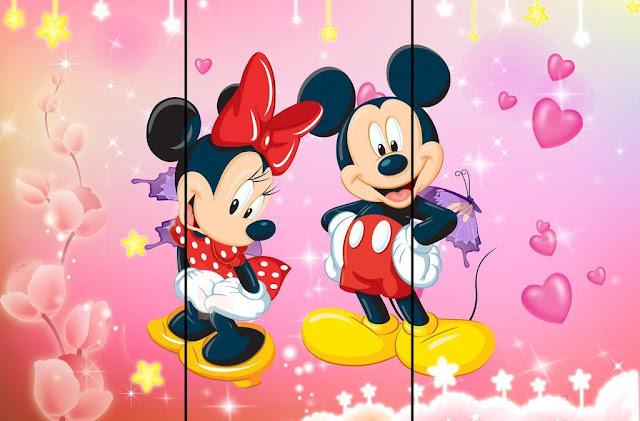 Mickey tranh dán cửa mầm non
