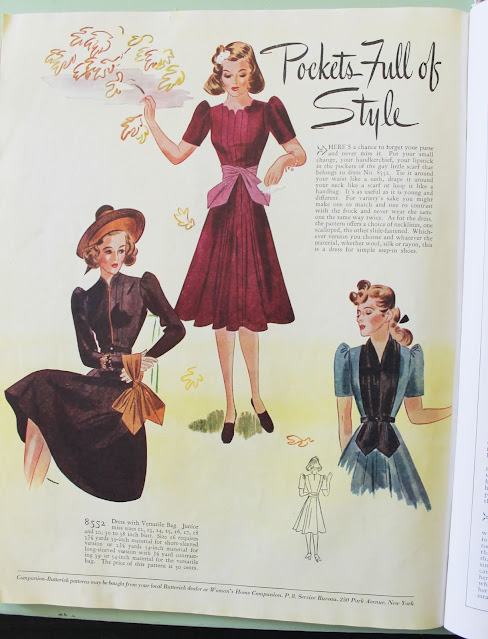1930s womens fall fashion magazine dresses with pockets