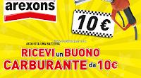 Logo ''Fai rifornimento con Arexons'' e ricevi sempre 1 buono carburante da 10€ come premio certo!