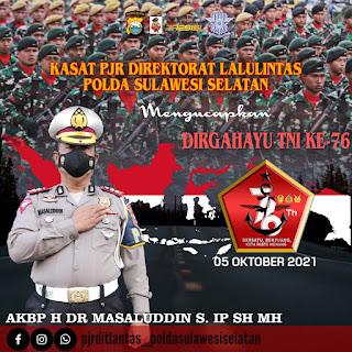 Kasat PJR Lalu Lintas Polda Sulawesi Selatan Beri Ucapan Selamat HUT TNI ke-76