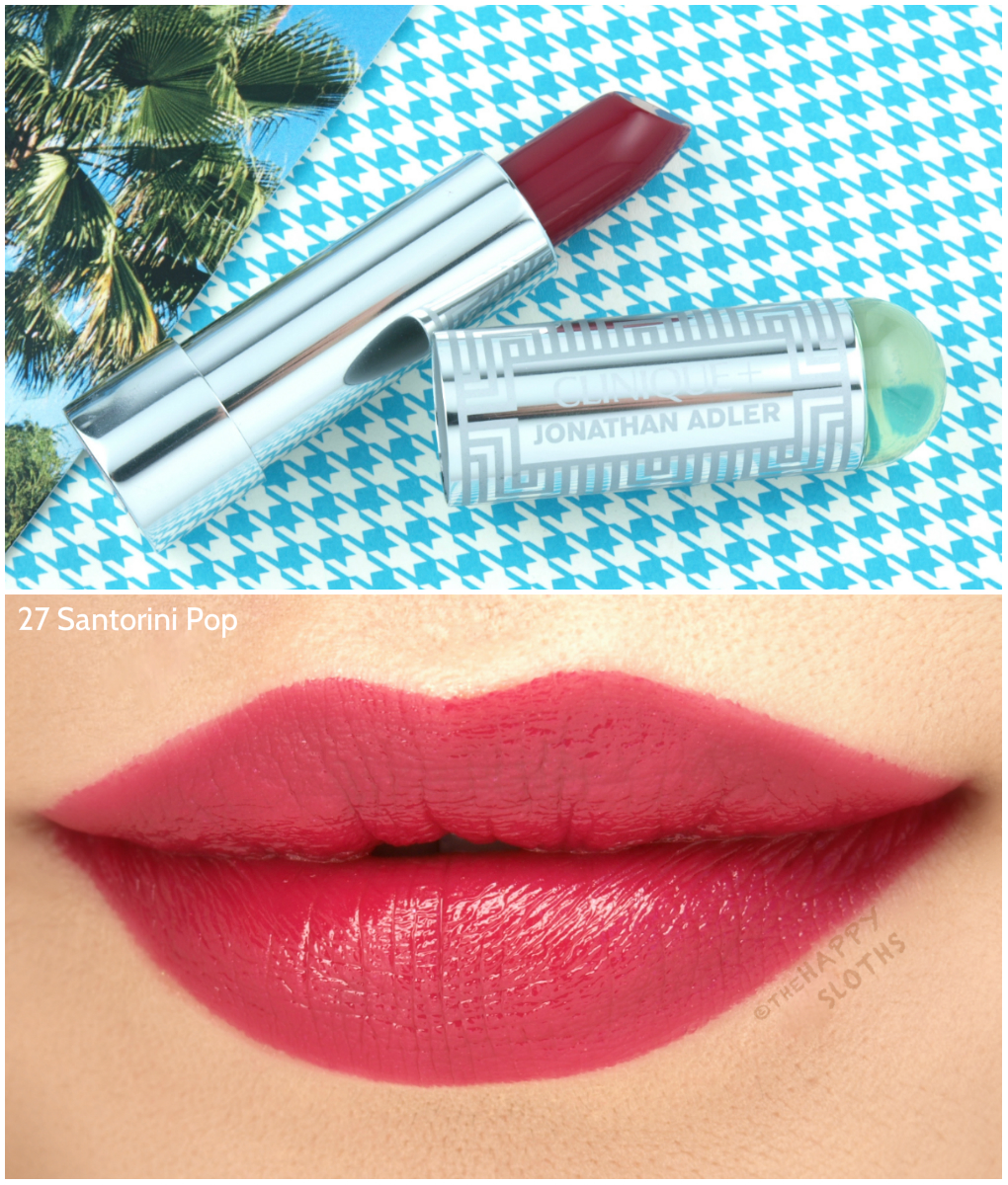 "Clinique + Jonathan Adler Collection | Lip Color + Primer Lipstick in ""27 Santorini Pop"": Review and Swatches"