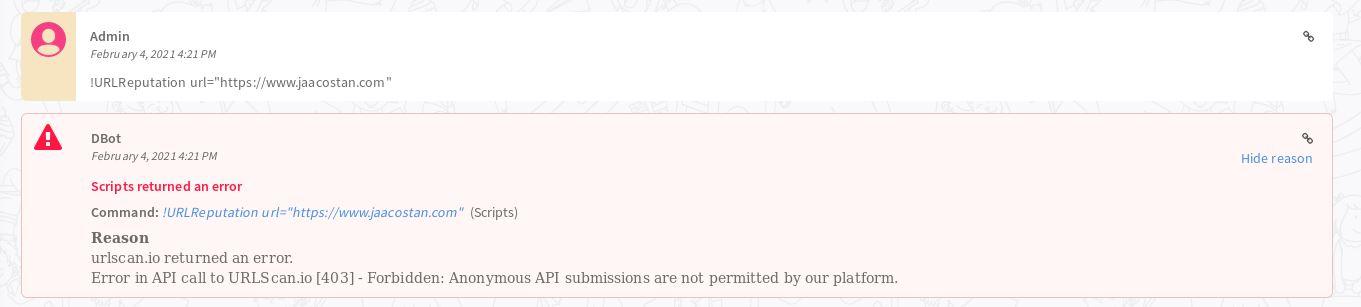 Cortex XSOAR Scripts returned an error