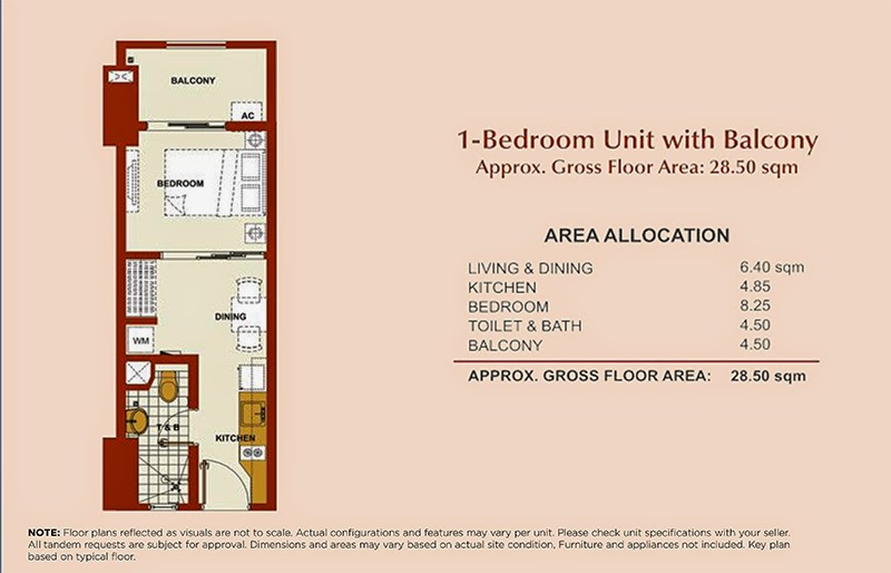 Brio Tower 1-Bedroom Unit 28.50 sqm.