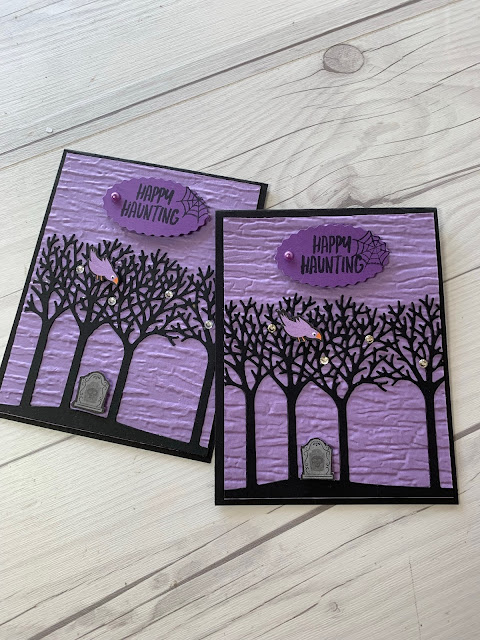 Purple and Black Halloween Card with tomb stone in a row of trees using Inspiring Canopy Dies from Stampin' Up!