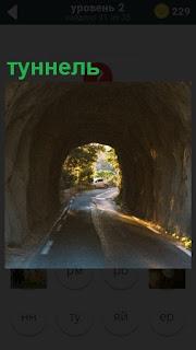 Дорога ведет в туннель, в конце которого свет солнечного дня