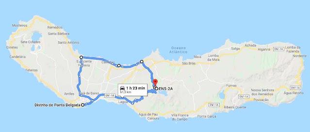 ruta coche centro San Miguel Azores
