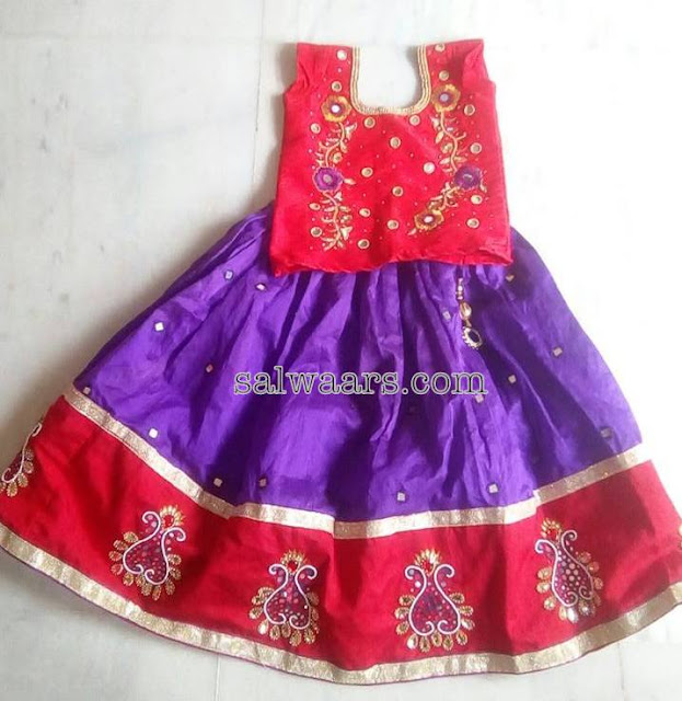 Purple Silk Lehenga with Red Mirror Blouse