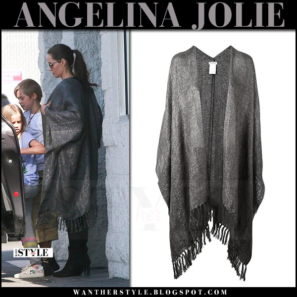 Angelina Jolie in grey metallic poncho brunello cucinelli what she wore june 2017