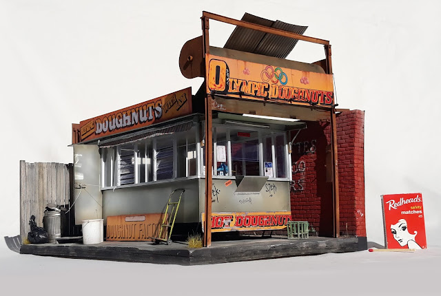 Olympic Doughnuts van, Footscray - scale model miniature by David Hourigan