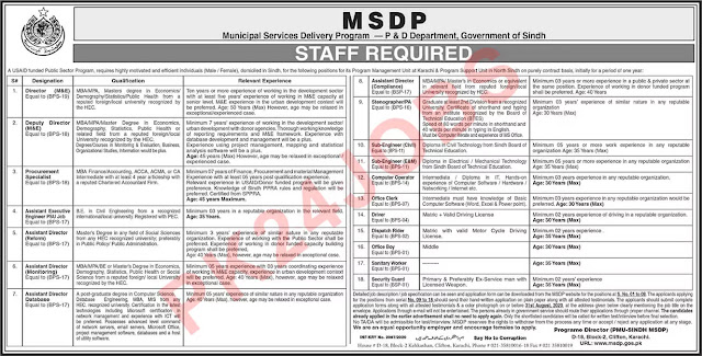 MSDP Sindh Jobs August 2020 Application Form