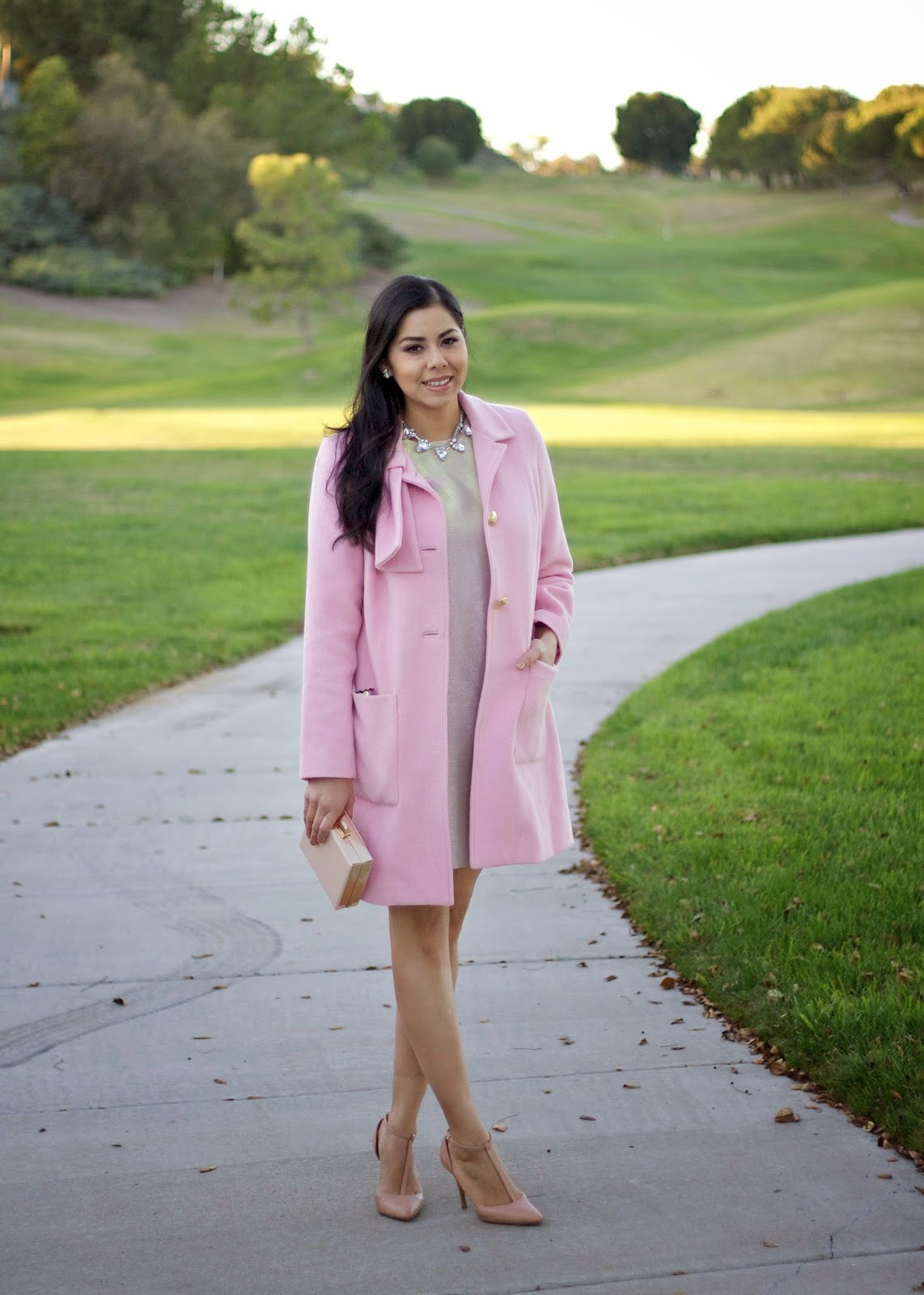 How to wear a pink coat, CAbi Clothing tuscadero coat, CAbi clothing coat, how to wear a coat with a dress, pink coat ideas, how to wear chic pink