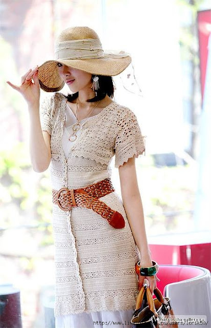 Patrón #828: Vestido a Crochet