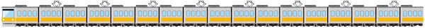 電車のライン素材(黄色)