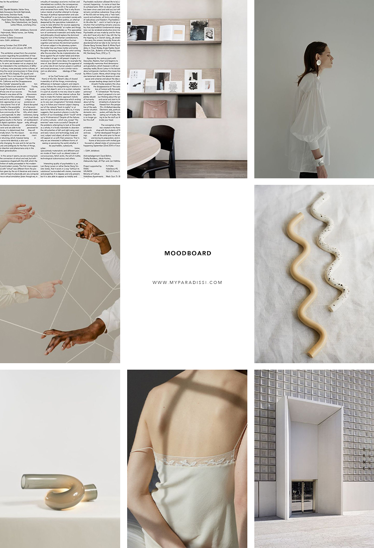 Inspiration moodboard curated by Eleni Psyllaki for My Paradissi