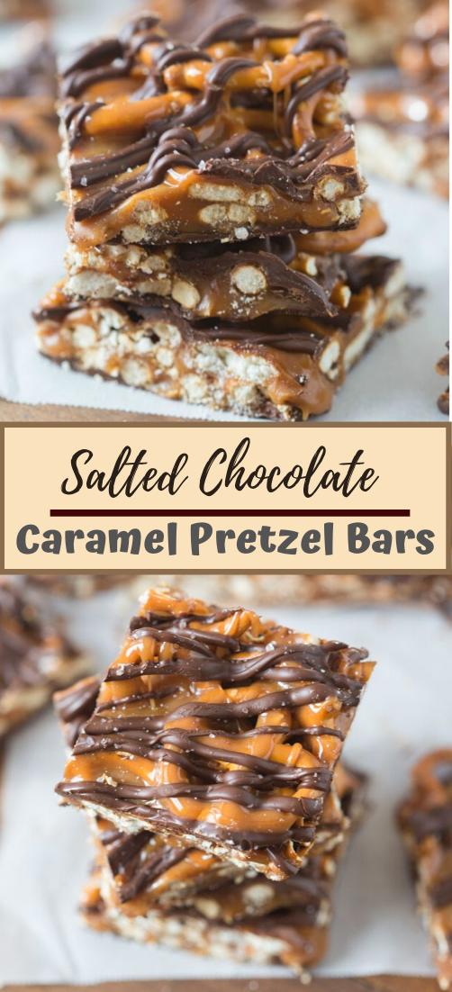 Salted Chocolate and Caramel Pretzel Bars #desserts #cakerecipe #chocolate