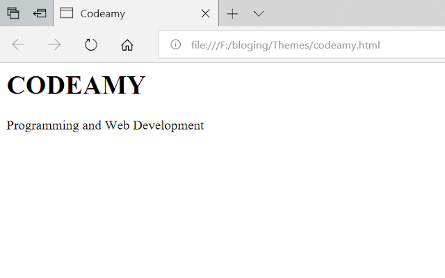 my first page open in web browser