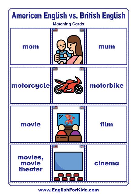 American English vs. British English vocabulary