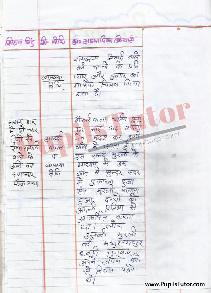 Mithai Wala Story par Lesson Plan in Hindi for BEd and DELED