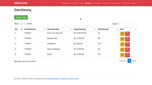 Halaman Module Barang Aplikasi Simple POS