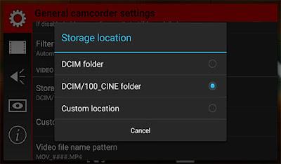 تحديد الملف الذي تريد حفظ الفيديوهات عليه سواء ذاكرة داخلية او خارجية