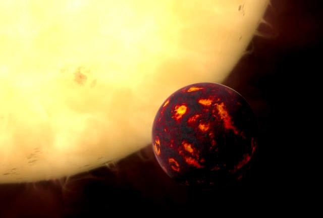 Ilsutração artística de um planeta sendo engolido por uma estrela