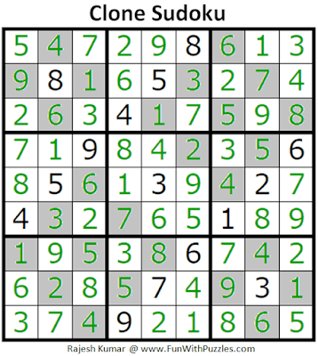 Answer of Clone Sudoku Puzzle (Fun With Sudoku #282)