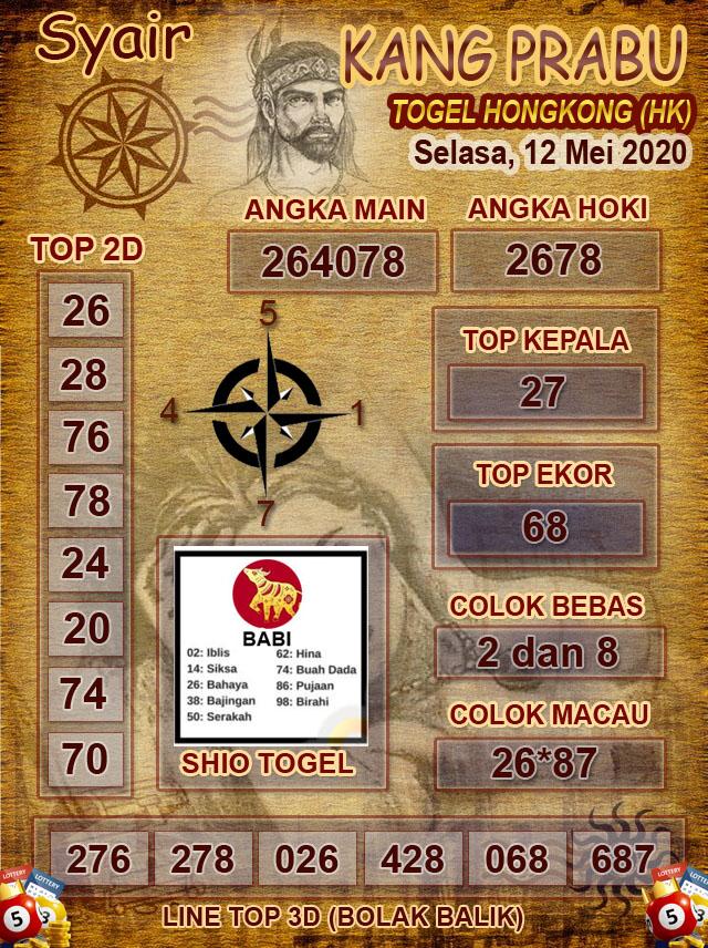 Prediksi HK Selasa 12 Mei 2020 - Syair Kang Prabu