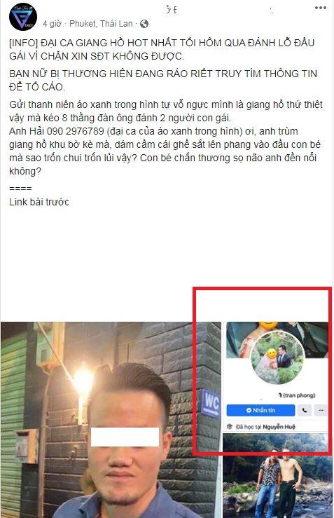 Tìm ra Facebook thanh niên xăm trổ xin số gái không được liền đánh lỗ đầu: Đã có vợ, hay nói đạo lý