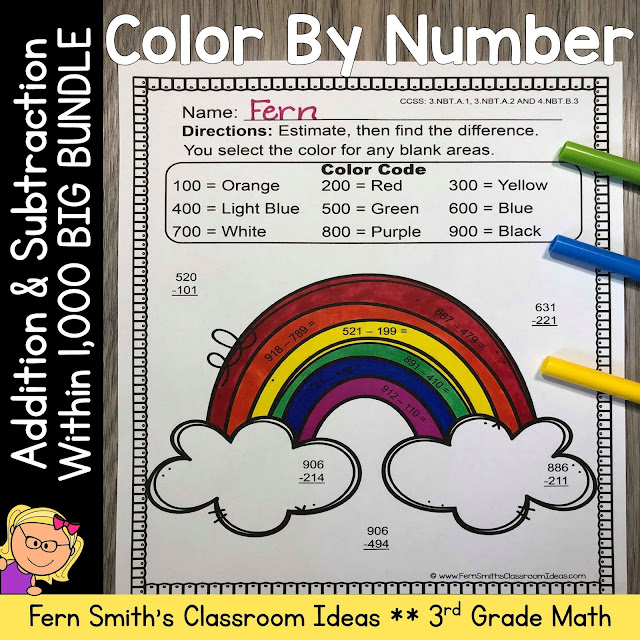 3rd Grade Go Math Chapter 1 Addition & Subtraction Within 1,000 Color By Number Bundle