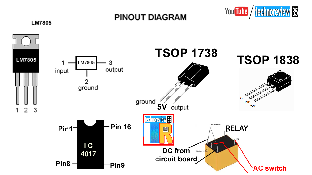 circuit diagram pin out of transistor ic relay ir sensor [ 1280 x 720 Pixel ]