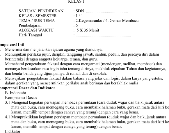 RPP Kurikulum 2013 Revisi Kelas 1 SD Tema 2 Subtema 4 Pembelajaran 6 Terbaru