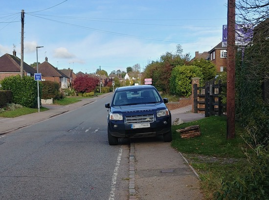 Driver blocks pedestrian route on Bluebridge Road, Brookmans Park  Image by North Mymms News released via Creative Commons BY-NC-SA 4.0