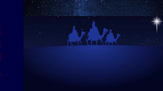 Os três reis magos seguindo a estrela de Belém