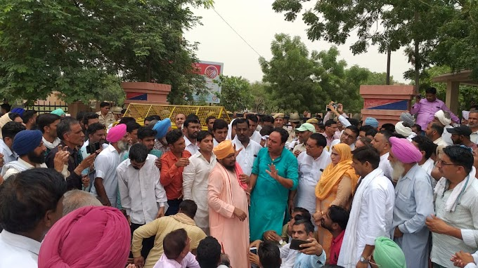 The people of Rajasthan demonstrated against the polluted water being supplied to them through punjab canals.