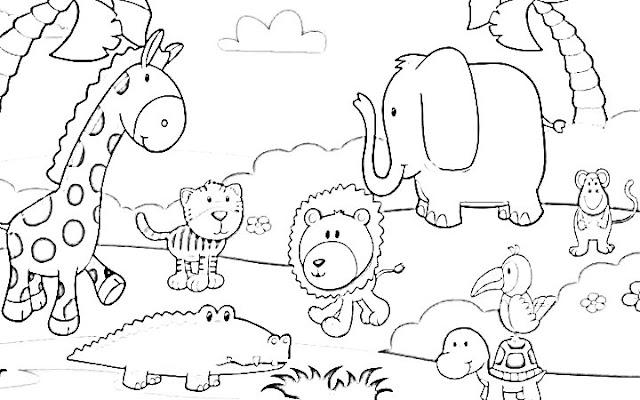 belajar menggambar dan mewarnai binatang jerapah harimau macan gajah kura kura buaya singa