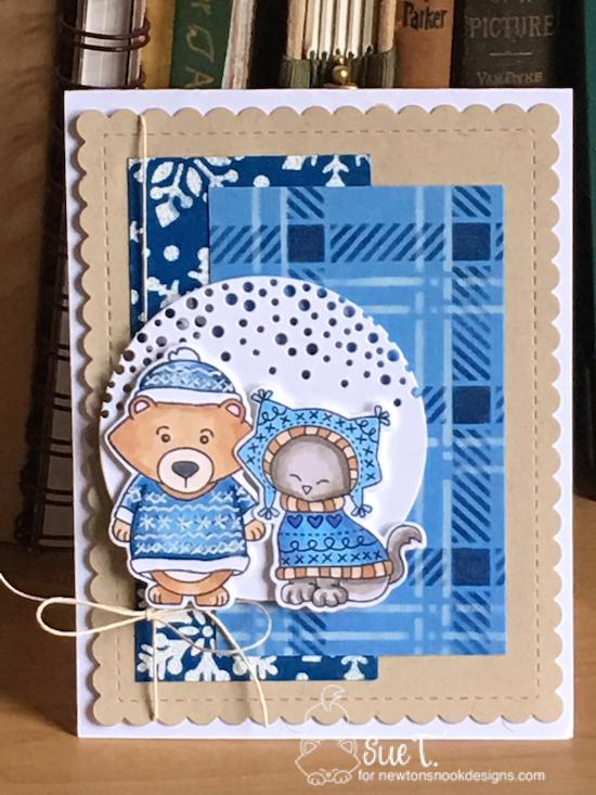 Sue's card features Sweater Weather, Snowfall, Plaid, and Frames & Flags by Newton's Nook Designs; #newtonsnook
