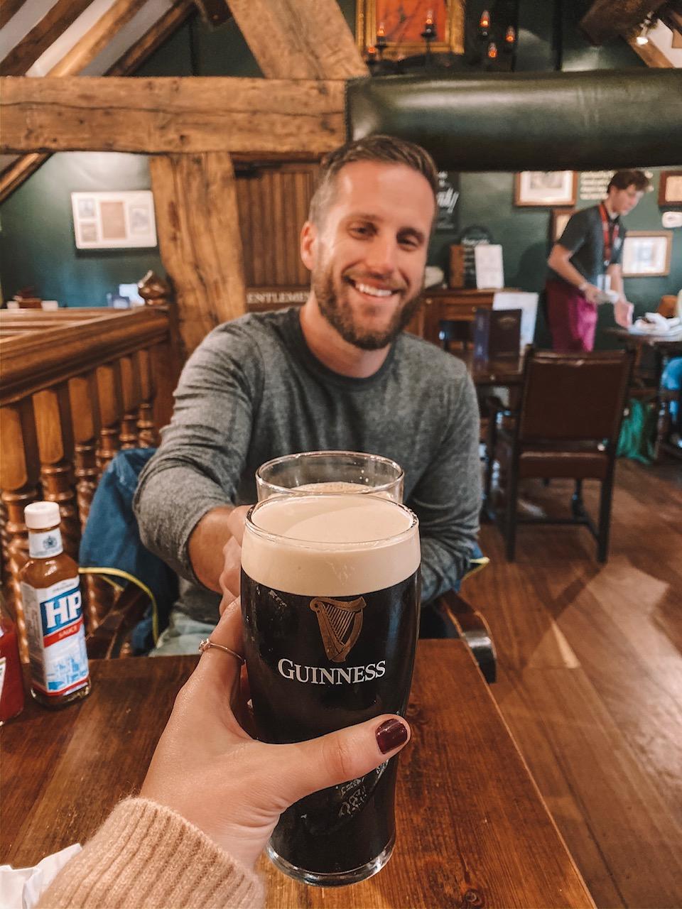 Travel blogger Amanda's OK drinks a beer at Manchester's oldest pub