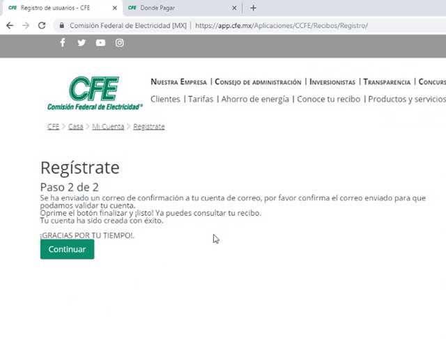 confirmar registro por correo de CFE