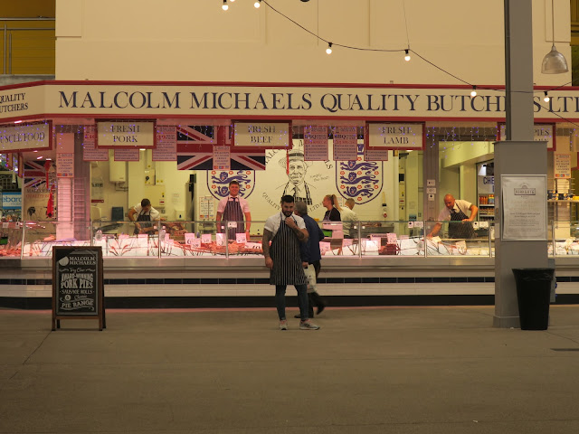 Butcher's stall, Kirkgate Market, Leeds, UK