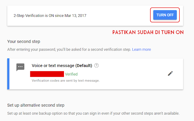 langkah 2-Step Verification