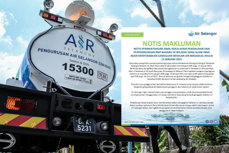 Gangguan Bekalan Air Berjadual Di 36 Kawasan Di Klang, Shah Alam Dan Petaling Mulai 12-14 Januari 2021