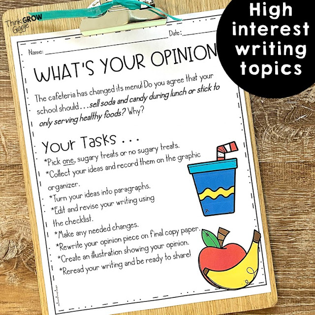 opinion writing activities for kids