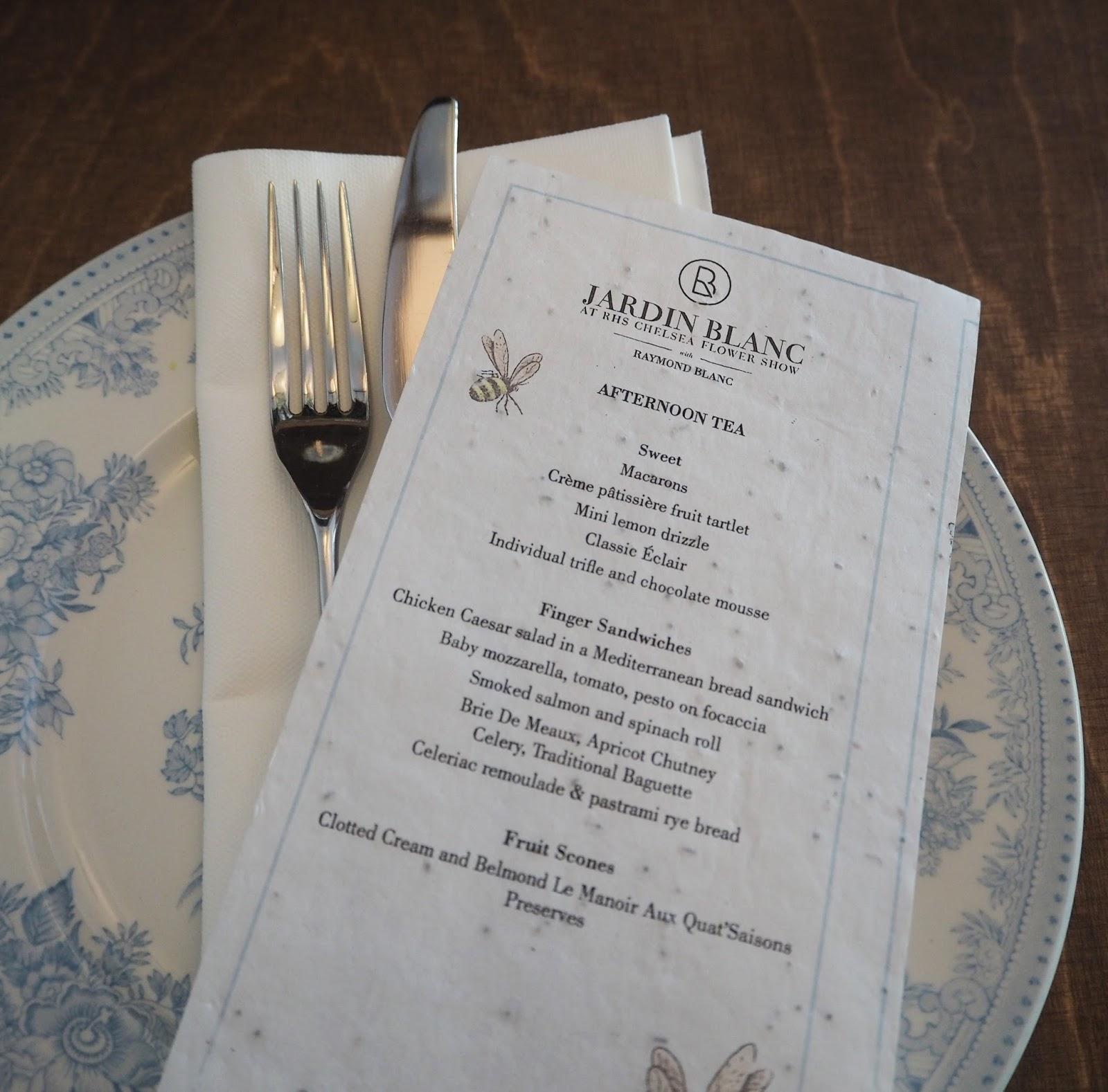 Afternoon tea menu, Jardin Blanc, Chelsea Flower Show 2017