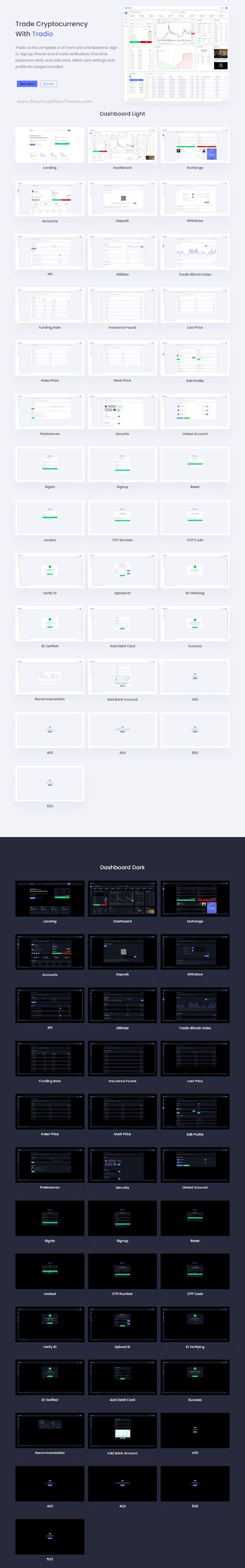 Tradio Cryptocurrency Exchange Vue App Dashboard Template