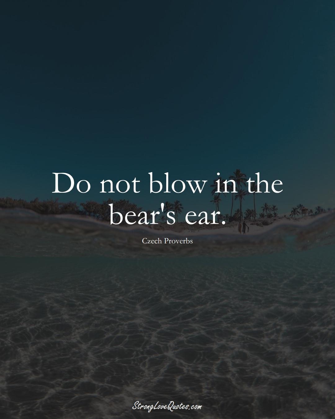 Do not blow in the bear's ear. (Czech Sayings);  #EuropeanSayings
