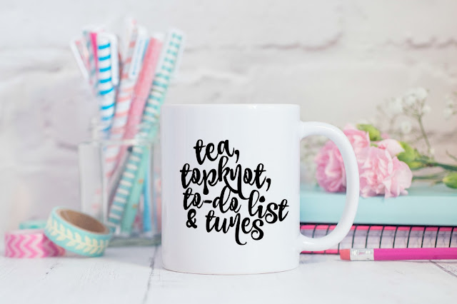 Tea, topknot, to-do list & tunes mug - Check out the brand new Max & Dot Co. Etsy shop for fun mugs and beautiful printables