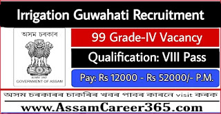 Irrigation Guwahati Recruitment 2021 - 99 Grade IV Vacancy
