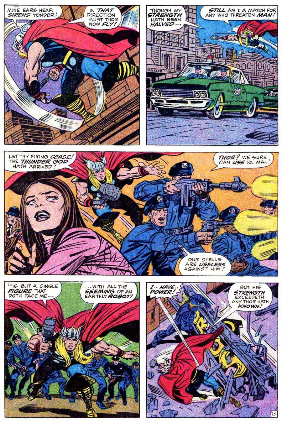Thor v1 #174 marvel comic book page art by Jack Kirby, Bill Everett